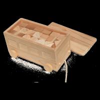 走らせて遊べる「クルマの木箱と積み木セット」